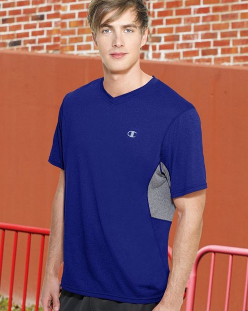 Champion T7298 PowerTrain Mens Heather V-Neck T-Shirt