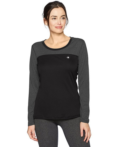 Champion W29897 Womens C Vapor Heather Long Sleeve Tee