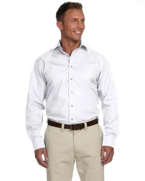 Logo Embroidered Chestnut Hill CH600C Men's Executive Performance Broadcloth with Spread Collar