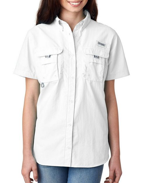 Logo Embroidered Columbia 7313 Ladies Bahama Short-Sleeve Shirt
