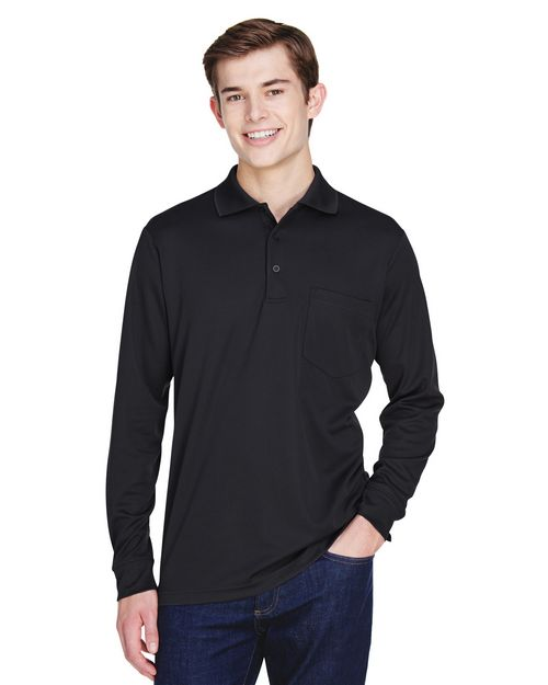 Core365 88192P Adult Pinnacle Performance Piqué Long-Sleeve Polo with Pocket