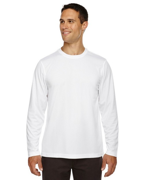 Core365 88199 Agility Mens Performance Long Sleeve Pique Crew Neck T-Shirt
