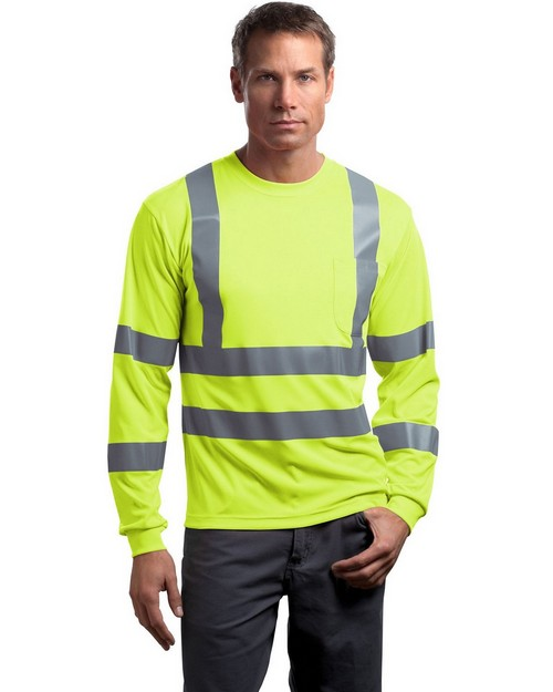 Cornerstone CS409 ANSI Class 3 Long-Sleeve Snag-Resistant Reflective T-Shirt