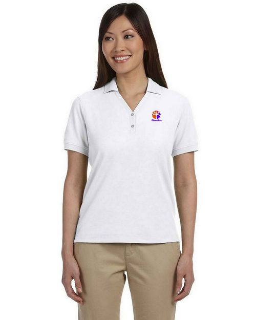 Devon & Jones D100W Ladies Pima Pique Short-Sleeve Y-Collar Polo