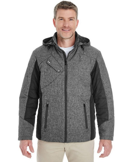Devon & Jones DG710 Mens Midtown Insulated Fabric-Block Jacket with Crosshatch Melange