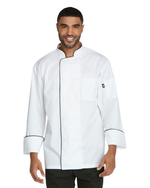 Dickies Chef DC411 Unisex Cool Breeze Piping Chef Coat
