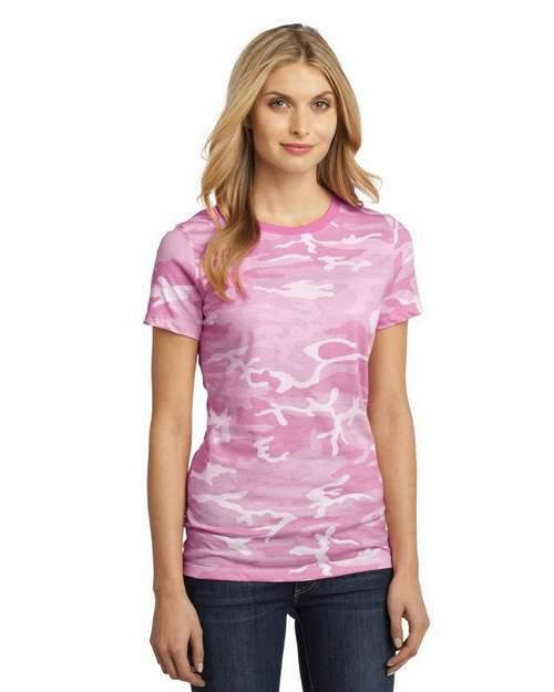 District Made DM104CL Ladies Perfect Camo Crew Tee