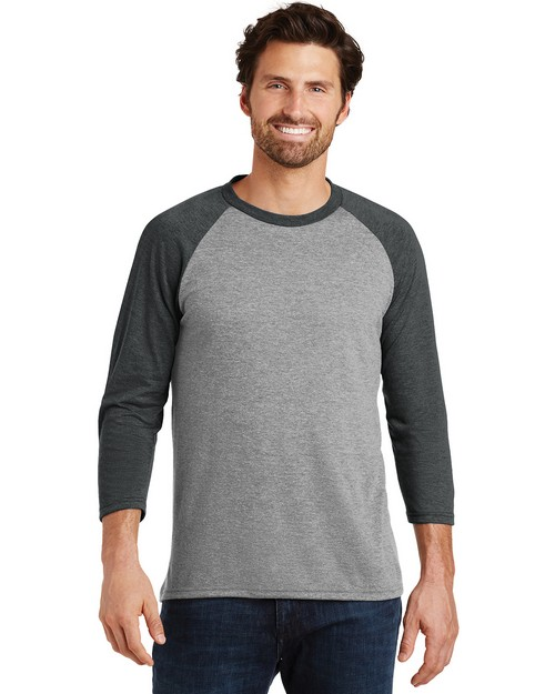 District Made DM136 Mens Perfect Tri 3/4-Sleeve Raglan
