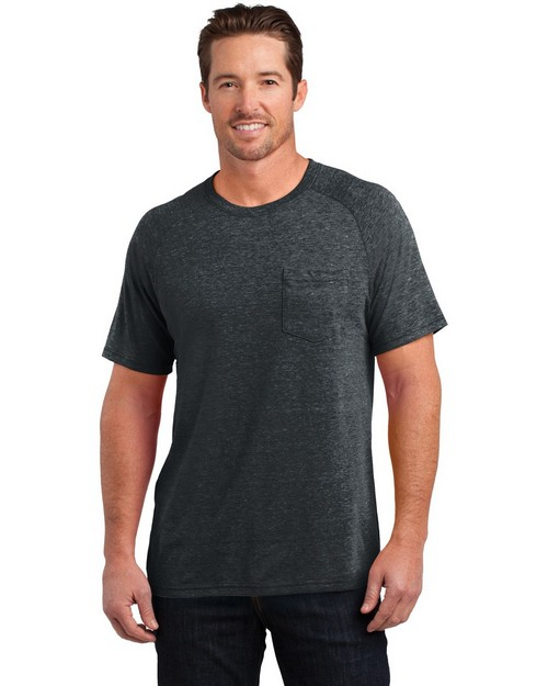 District DM340 Mens Tri Blend Pocket Tee
