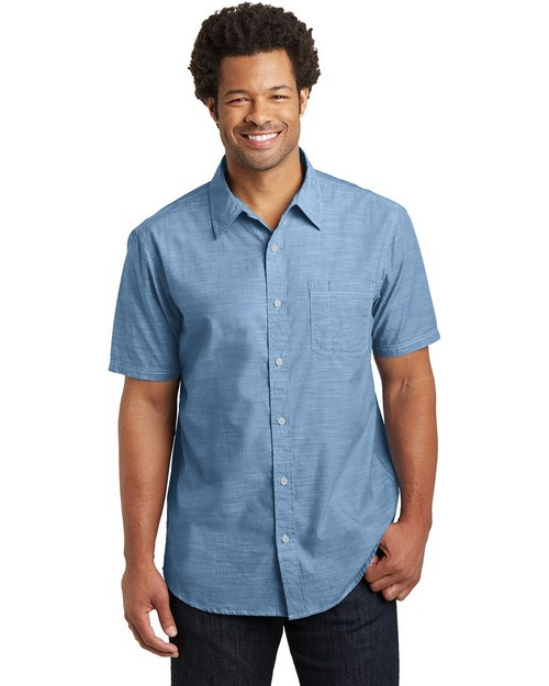 District DM3810 Mens Short Sleeve Washed Woven Shirt