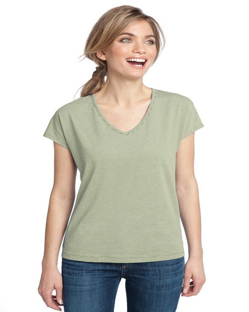 District Made DM422 Ladies Mini Stripe Dolman V-Neck Tee