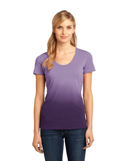 District Made DM4310 Ladies Dip Dye Rounded Deep V-Neck Tee