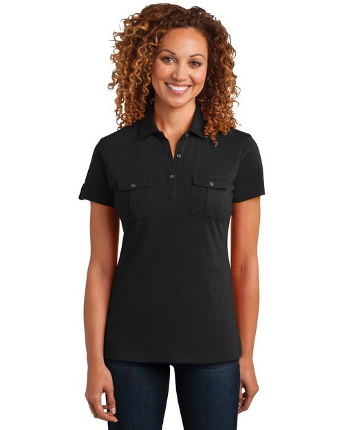 District Made DM433 Ladies Jersey Double Pocket Polo