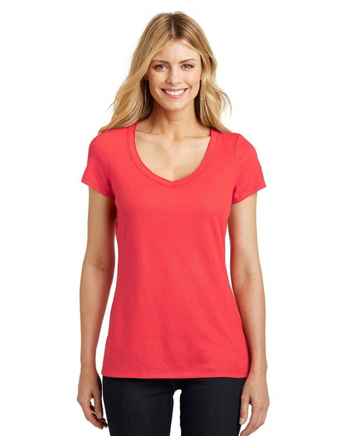 District DM456 Ladies Shimmer V-Neck T-Shirt