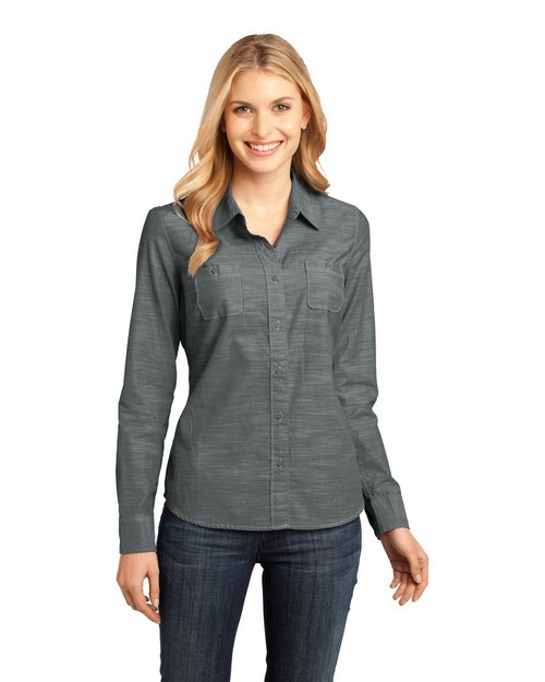 District Made DM4800 Ladies Long Sleeve Washed Woven Shirt