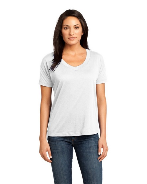 District Made DM480 Ladies Modal Blend Relaxed V-Neck Tee