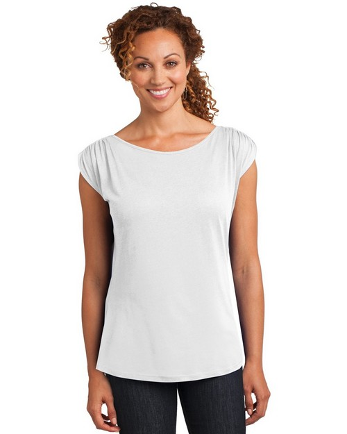 District Made DM483 Ladies Modal Blend Gathered Shoulder Tee