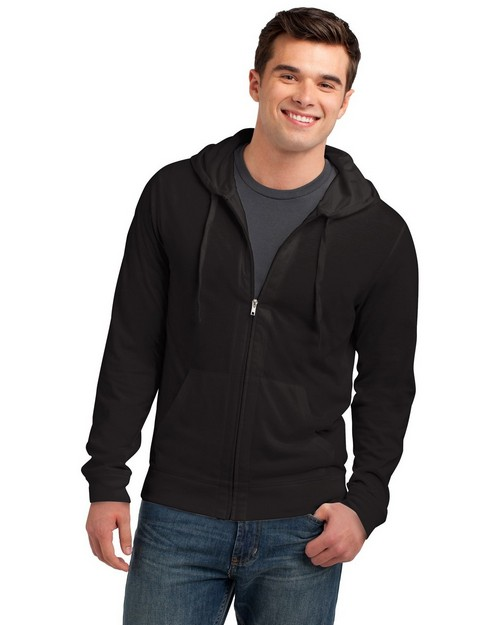 District DT1100 Young Mens Jersey Full Zip Hoodie