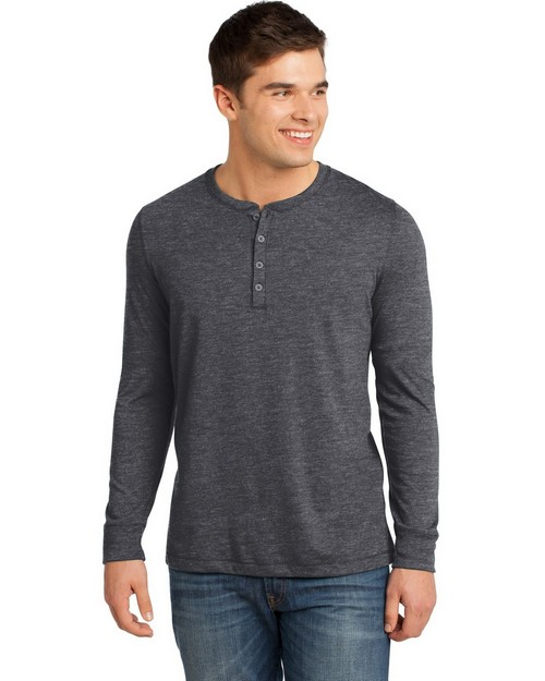 District DT1401 Young Mens Gravel 50/50 Long Sleeve Henley Tee