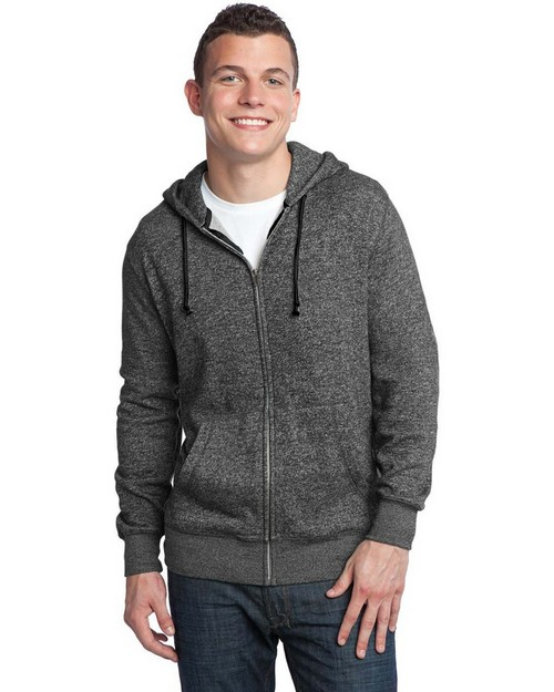 District DT192 Young Mens Marled Fleece Full-Zip Hoodie