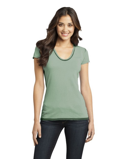 District DT2202 Juniors Faded Rounded Deep V-Neck Tee