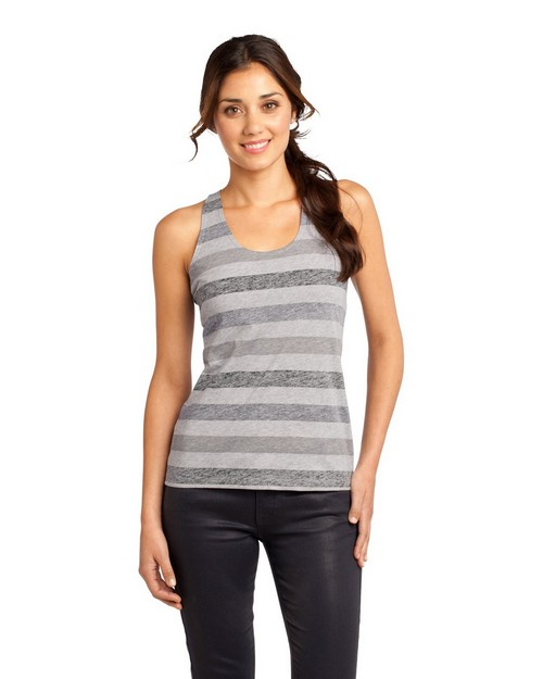 District DT229 Juniors Reverse Striped Scrunched Back Tank