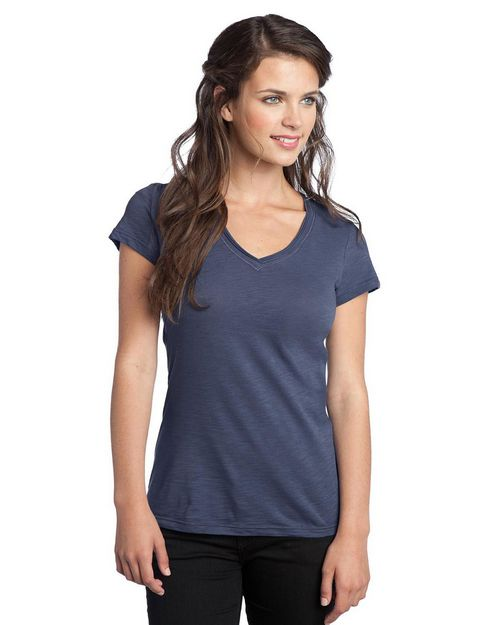 District DT240 Juniors Slub V-Neck Tee