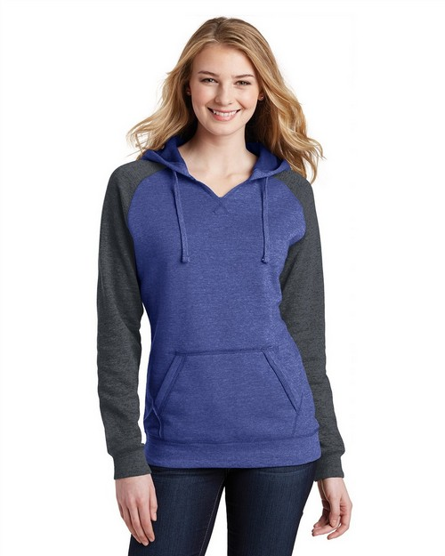 District DT296 Juniors Lightweight Fleece Raglan Hoodie