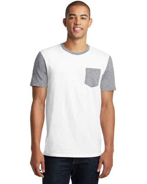 District DT6000SP Young Mens Very Important Tee with Contrast Sleeves and Pocket