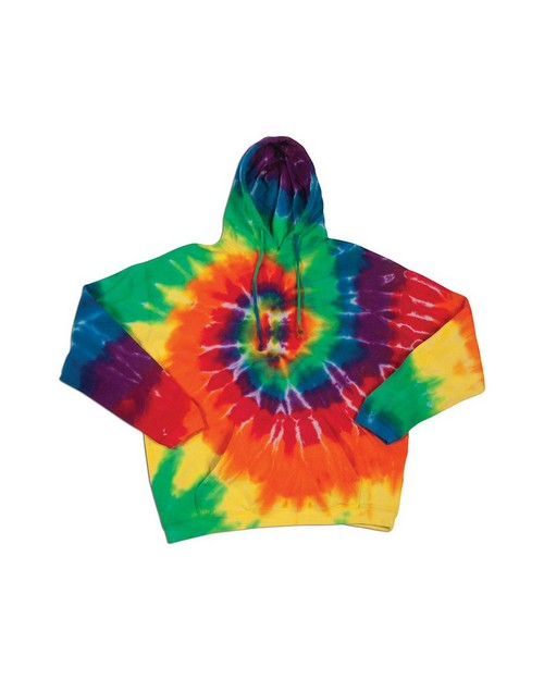 Dyenomite 854MS Rainbow Spiral Pullover Hooded Sweatshirt