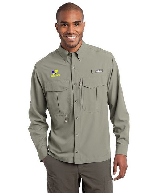 Eddie Bauer Logo Embroidered Long Sleeve Performance Fishing Shirt - For Men