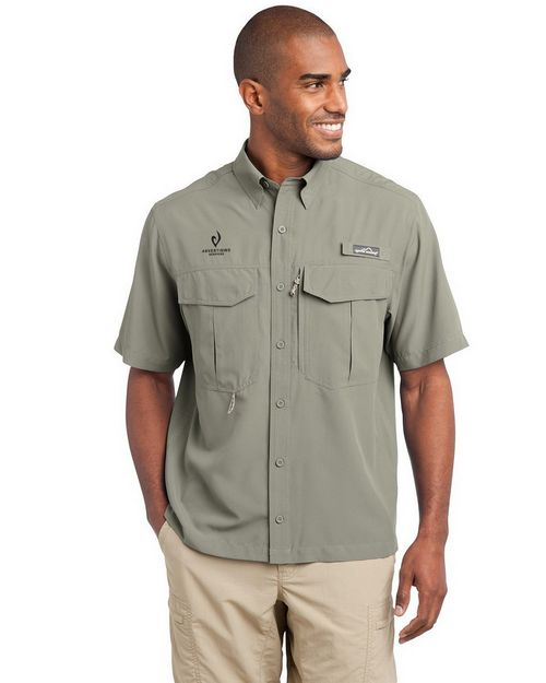 Eddie Bauer Logo Embroidered Short Sleeve Performance Fishing Shirt - For Men