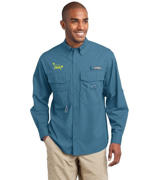 Eddie Bauer Logo Embroidered Long Sleeve Fishing Shirt - For Men