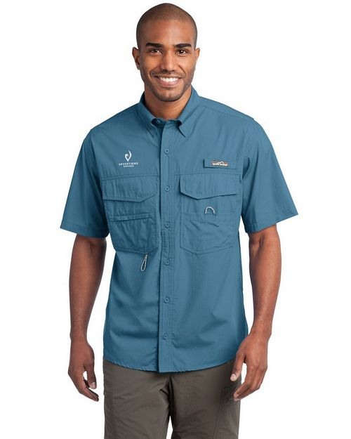 Eddie Bauer Logo Embroidered Short Sleeve Fishing Shirt - For Men
