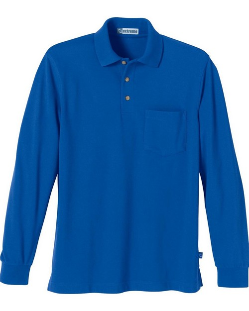 Extreme 85076 Mens One-Pocket Long Sleeve Pique Polo With Teflon