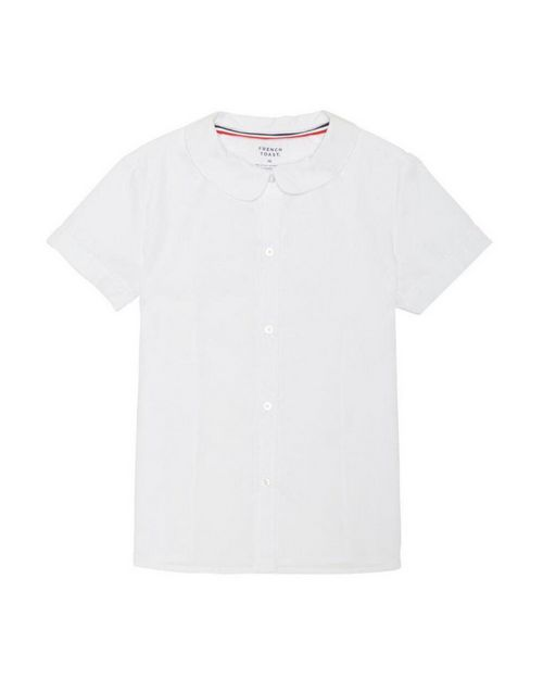 French Toast SE9383 Girls Short Sleeve Peter Pan Poplin Blouse