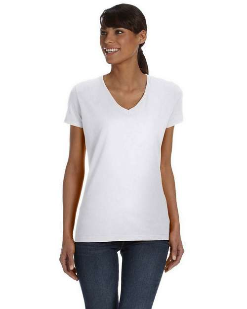 Fruit of the Loom L39VR Ladies 5 oz.; 100% Heavy Cotton HD V-Neck T-Shirt