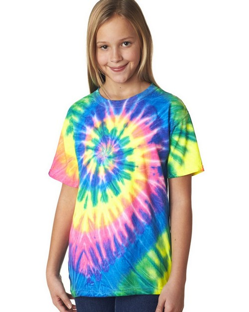 Gildan Tie-Dyes 69B Youth Neon Pigment-Dyed Spiral Rainbow Tee