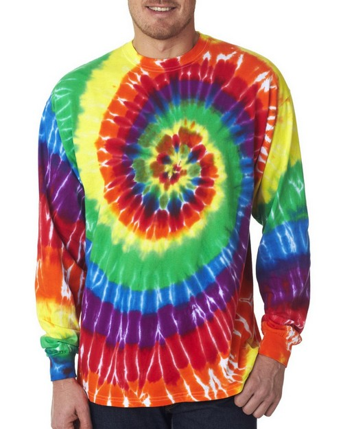 Gildan Tie-Dyes 70LS Adult Long-Sleeved Rainbow Swirl Tee