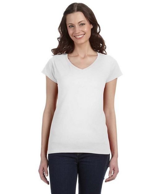Gildan G64VL Ladies SoftStyle Junior Fit V Neck T Shirt