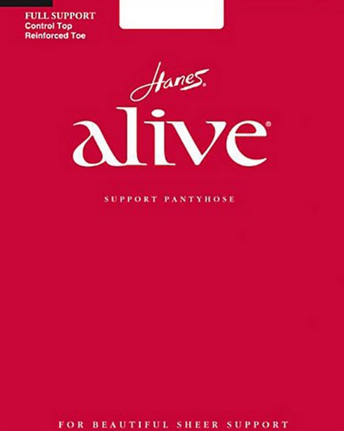 Hanes 00810 Alive Full Support Control Top Reinforced Toe Pantyhose