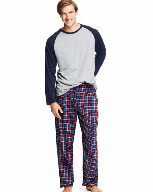 Hanes 03003 Mens Jersey Flannel Sleep Set