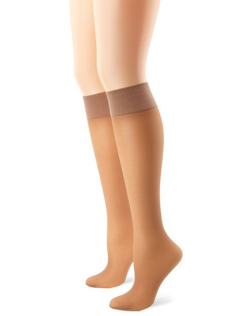 Hanes 0A446 Alive Full Support Sheer Knee Highs