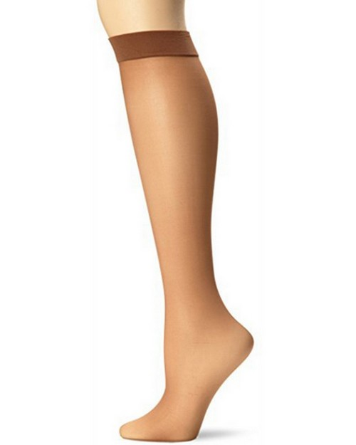 Hanes 0A990 Silk Reflections Lasting Sheer Knee Highs with No Slip Band