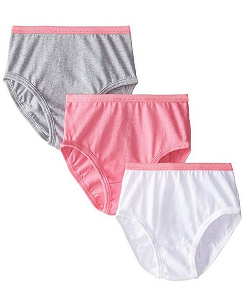 Hanes 1300WP Girls No Ride Up Cotton Colored Briefs 3-Pack