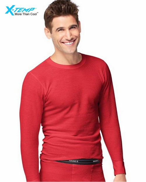 Hanes 14500 X-Temp Mens Organic Cotton Thermal Crew