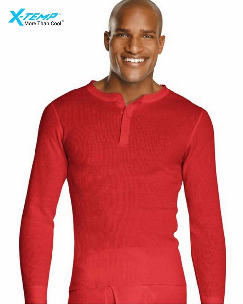 Hanes 14510 X-Temp Mens Organic Cotton Thermal Henley