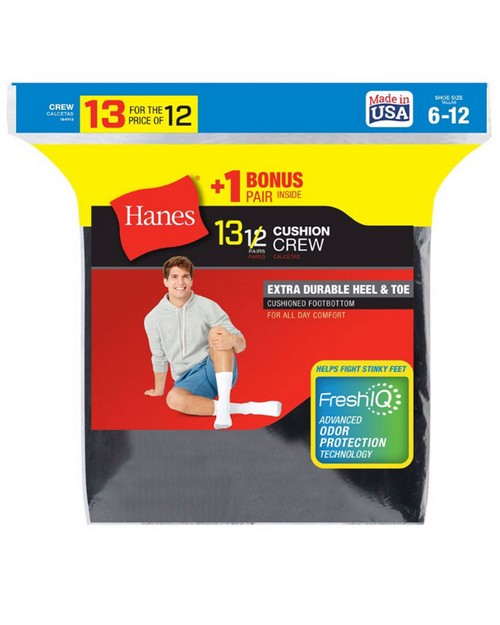 Hanes 184v13 Mens Cushion Crew Socks 13-Pack (Includes 1 Free Bonus Pair)
