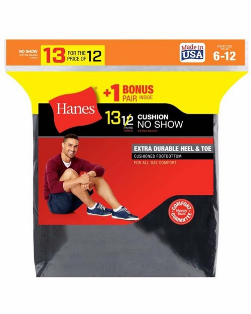 Hanes 190v13 Mens Cushion No-Show Socks 13-Pack (Includes 1 Free Bonus Pair)