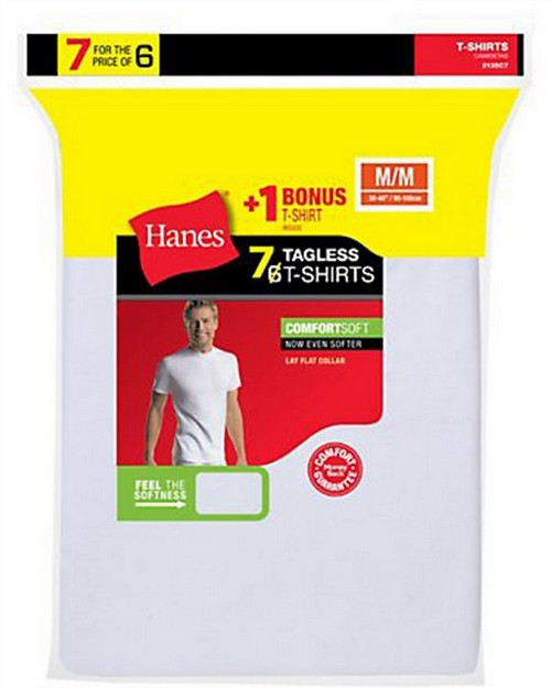 Hanes 2135C7 Mens TAGLESS Crewneck Undershirt 7-Pack (Includes 1 Free Bonus Crewneck)